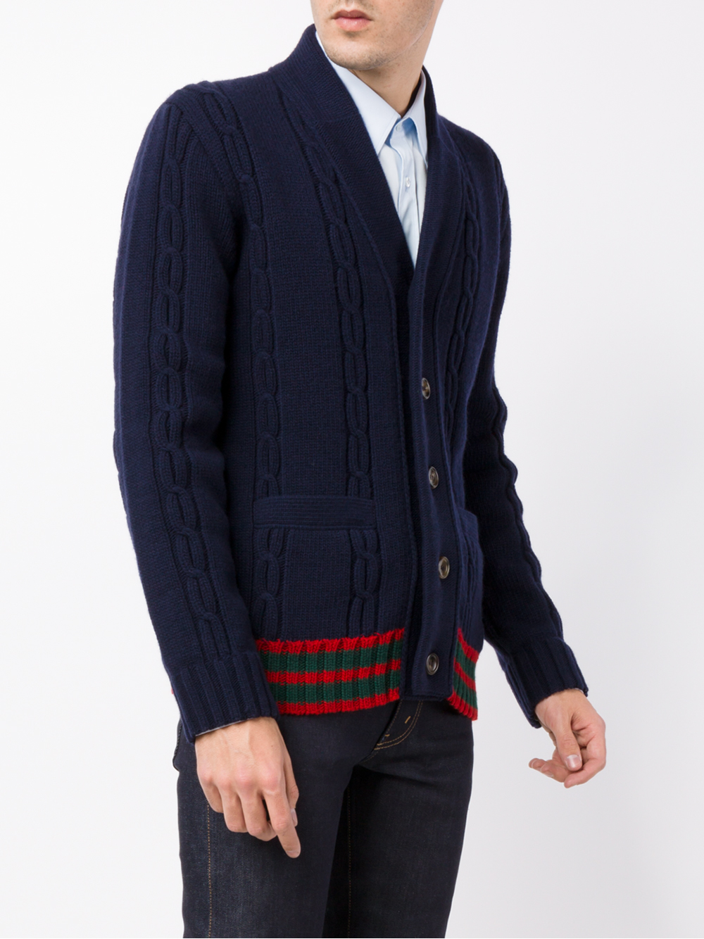 Gucci Cable Knit Cardigan in Blue for Men | Lyst