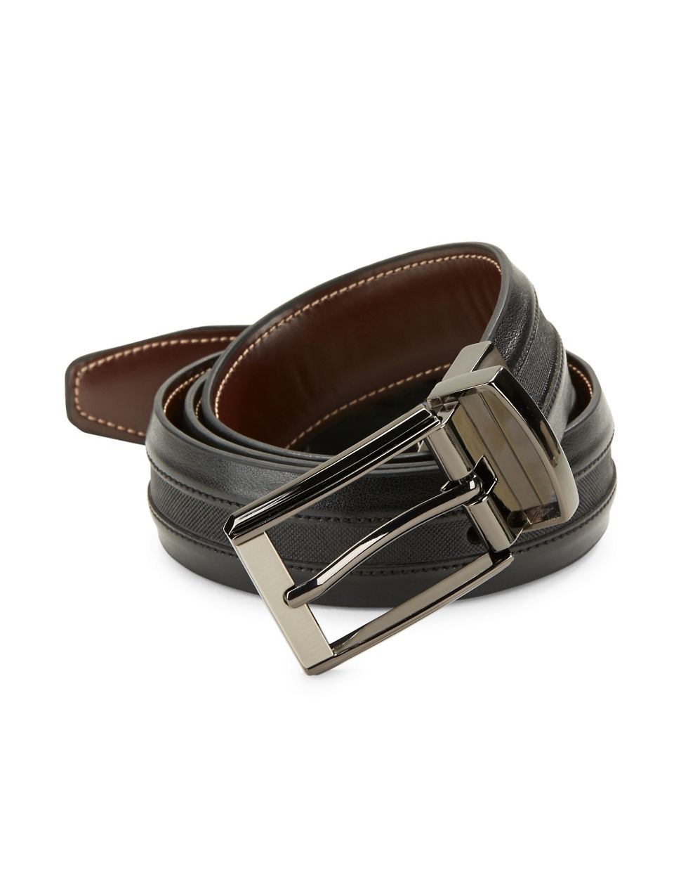 black brown reversible leather belt in gray for