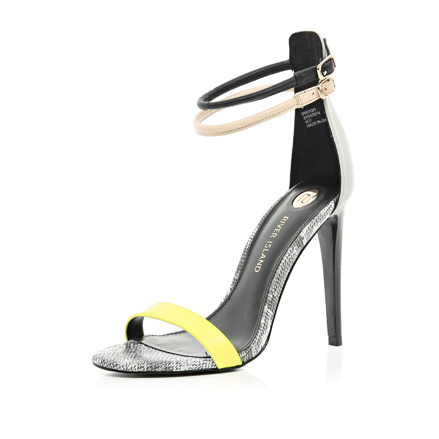 e1c6333820c River Island Black Colour Block Barely There Sandals in Yellow - Lyst