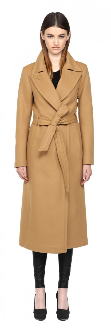 Mackage Babie-sp Camel Long Wool Coat in Natural | Lyst