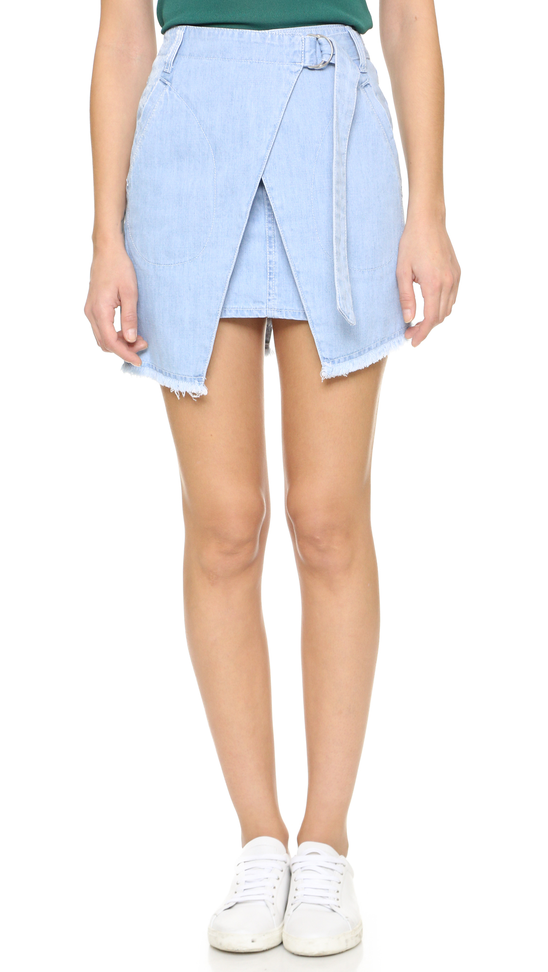 Sjyp Denim Wrap Skirt in Blue | Lyst