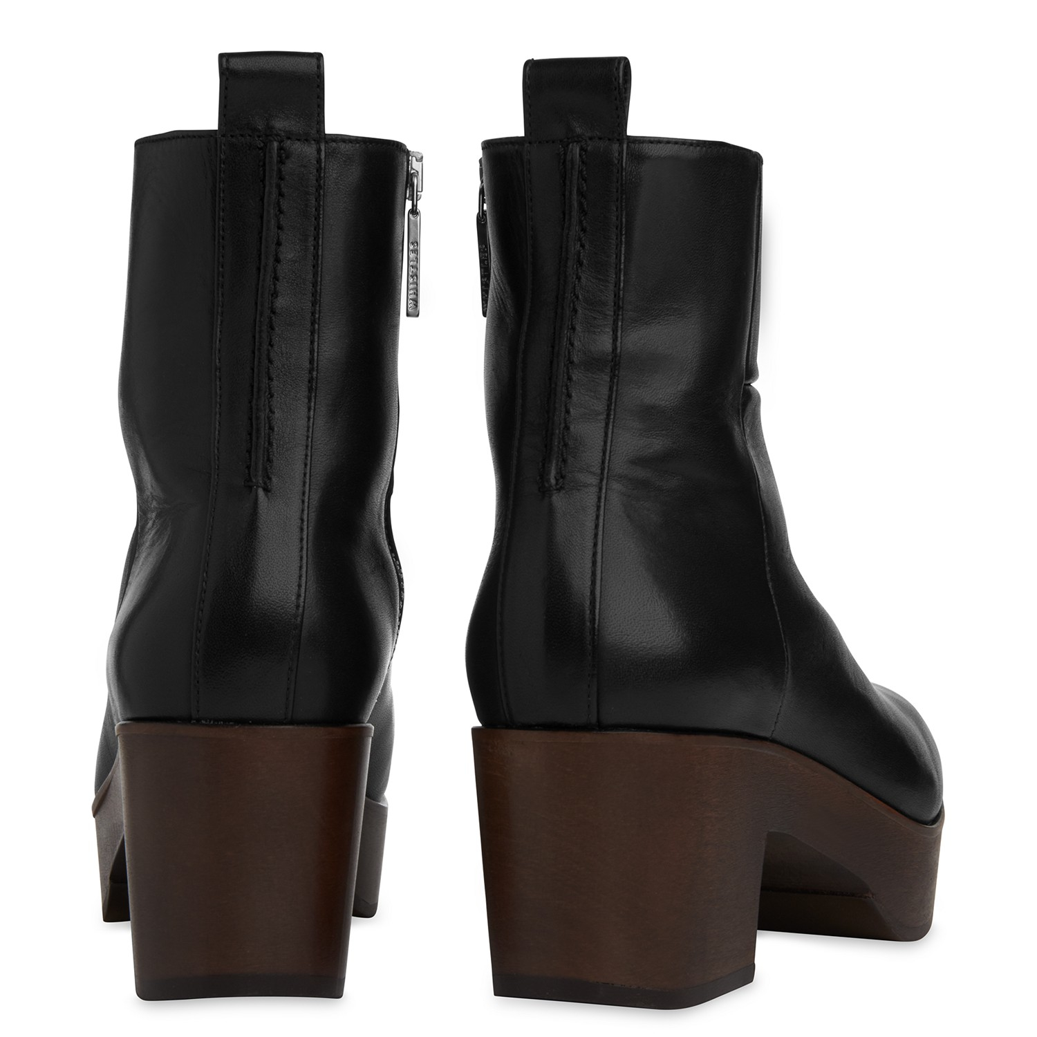 Whistles Leather Helle Block Heeled Clog Ankle Boots in Black Leather (Grey)