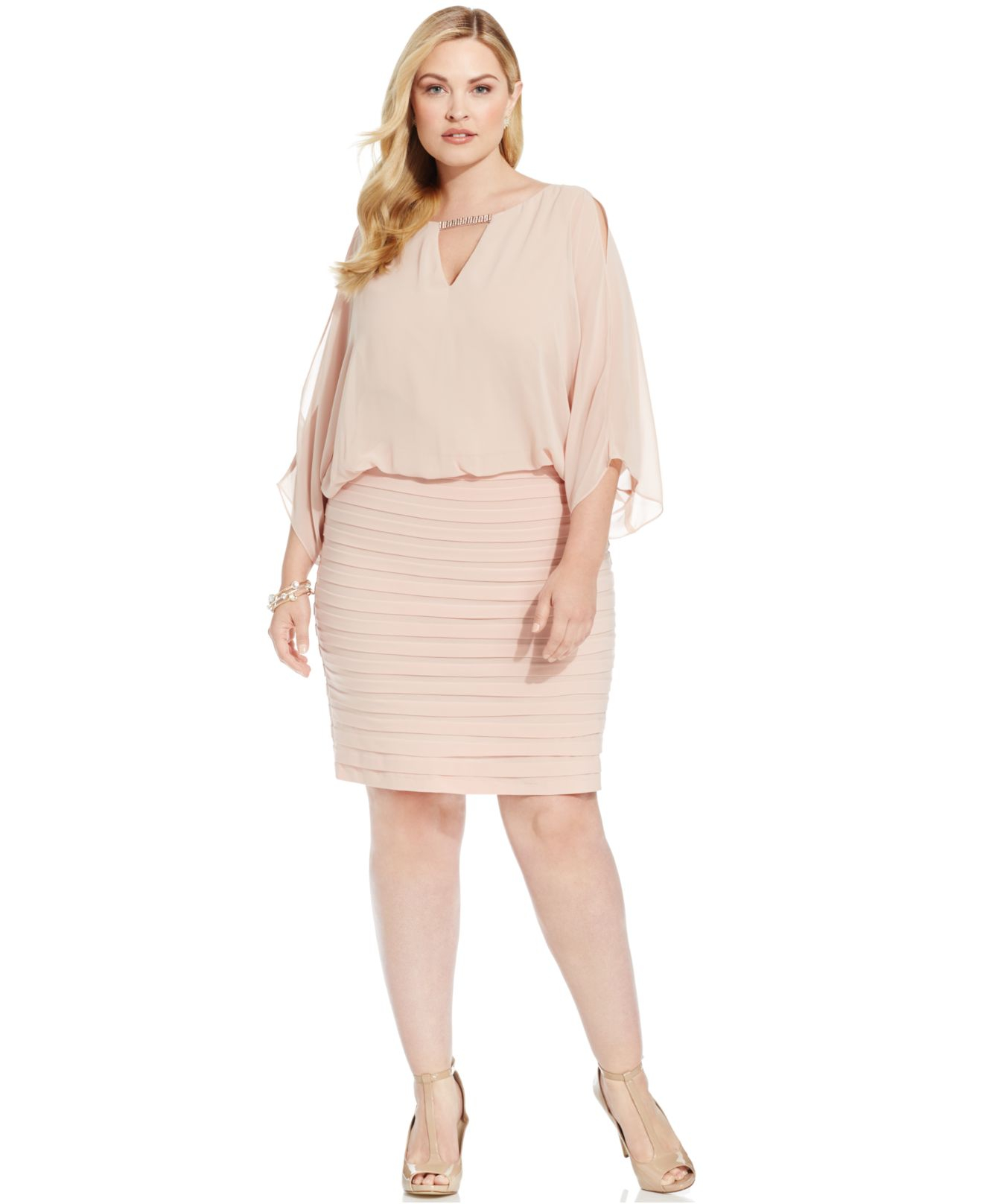 Xscape Pink Plus Size Split-sleeve Blouson Shutter Pleat Dress