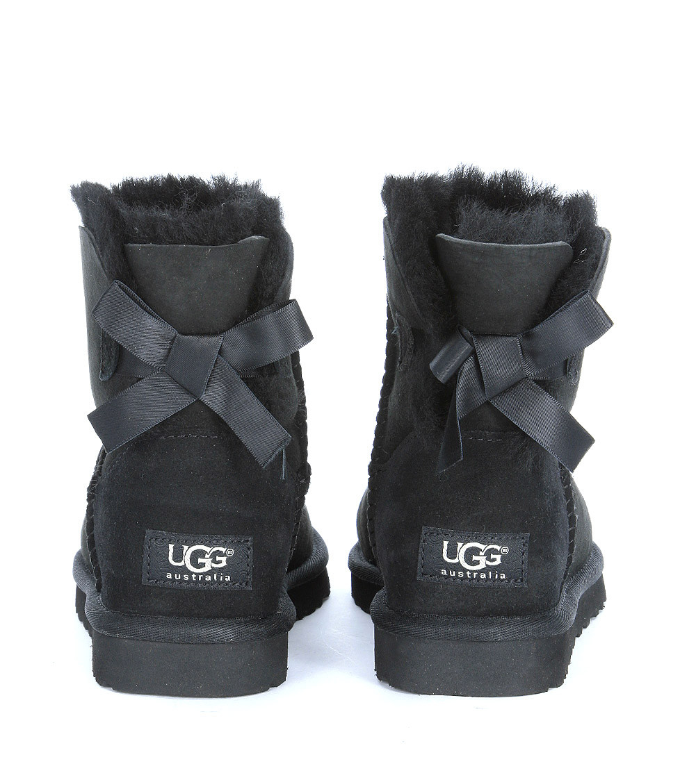 ugg mini bailey bow black ankle boots in black nero lyst. Black Bedroom Furniture Sets. Home Design Ideas