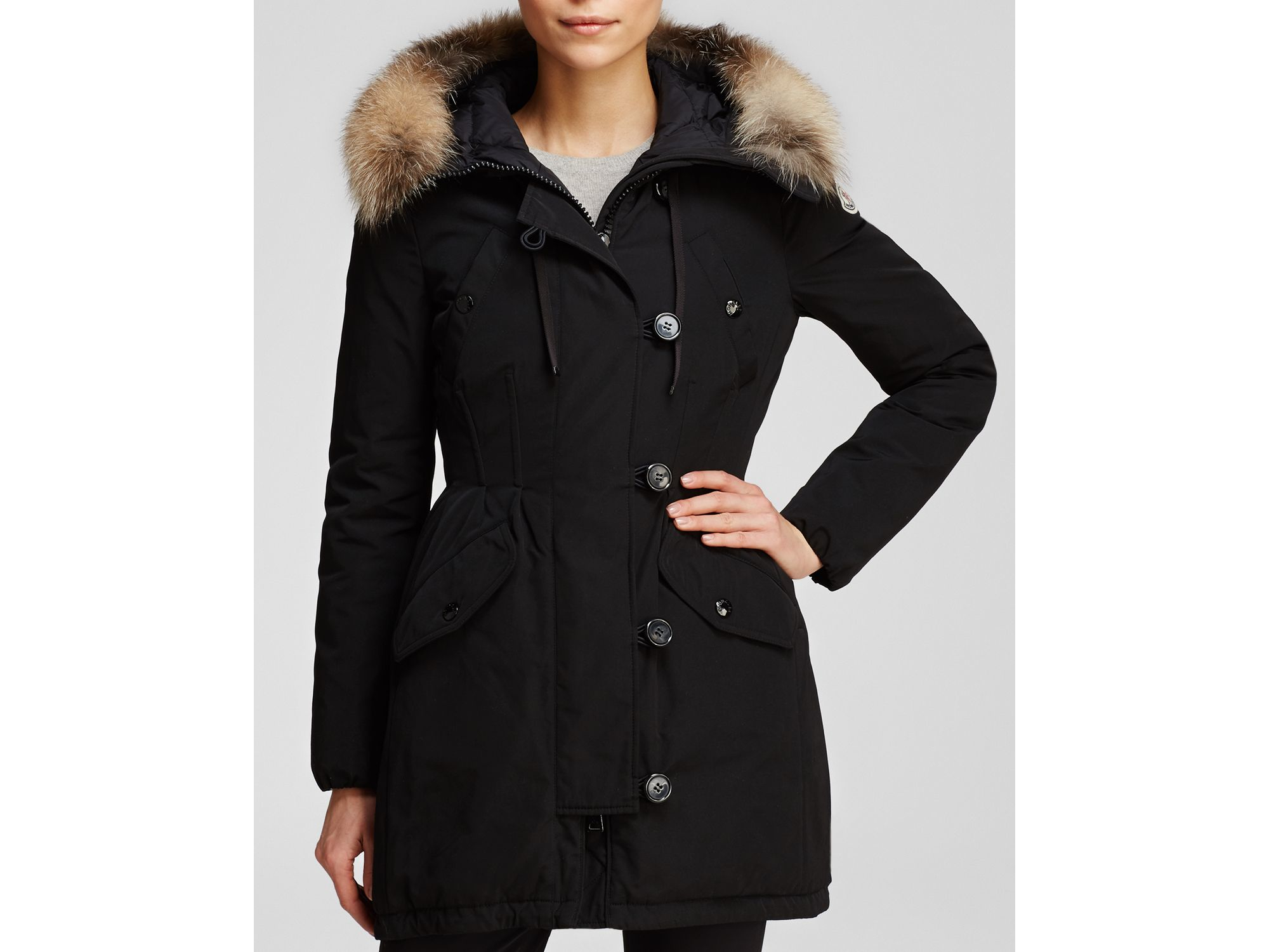 lyst moncler arriette down anorak with fur trim in black rh lyst com