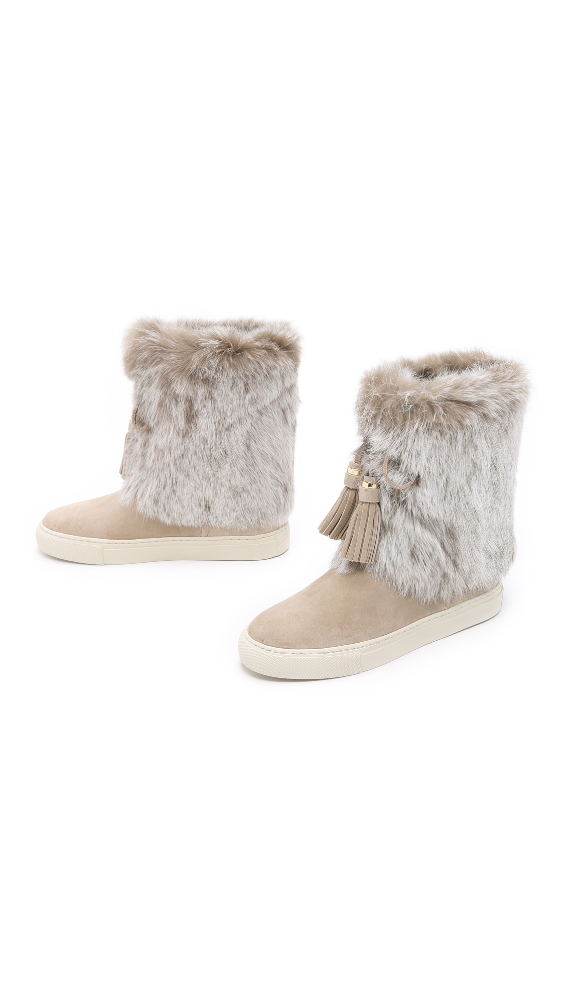 burch anjelica suede fur boots in lyst