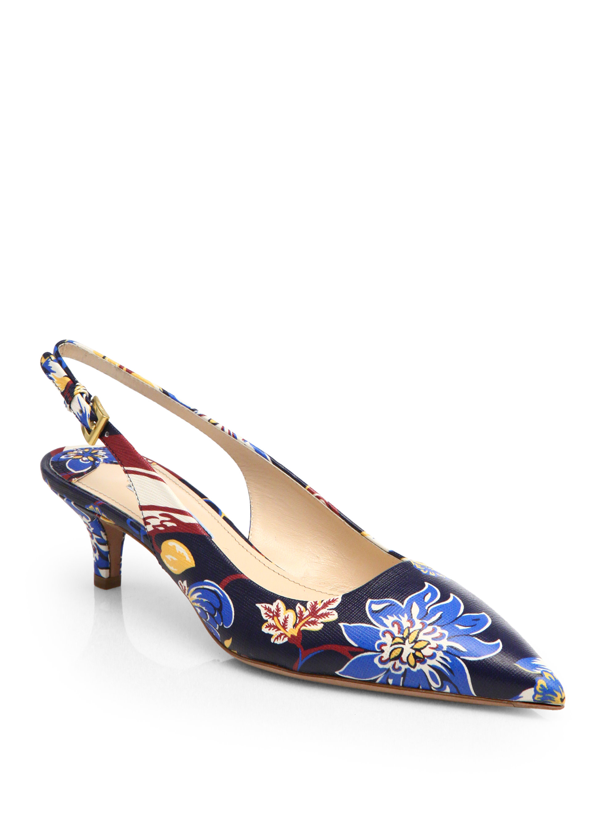 Prada Floral Print Leather Slingback Pumps Lyst