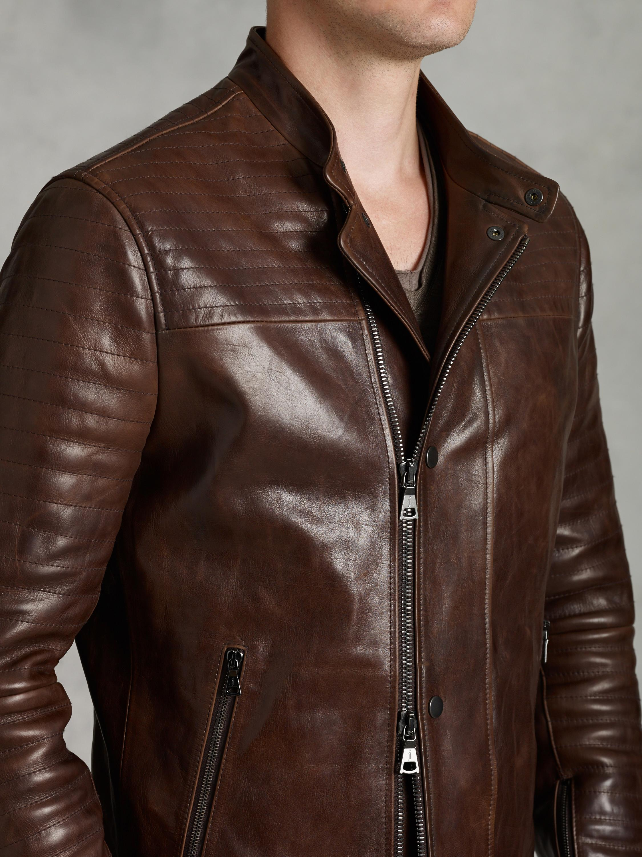 John Varvatos Leather Biker Jacket In Brown For Men Lyst