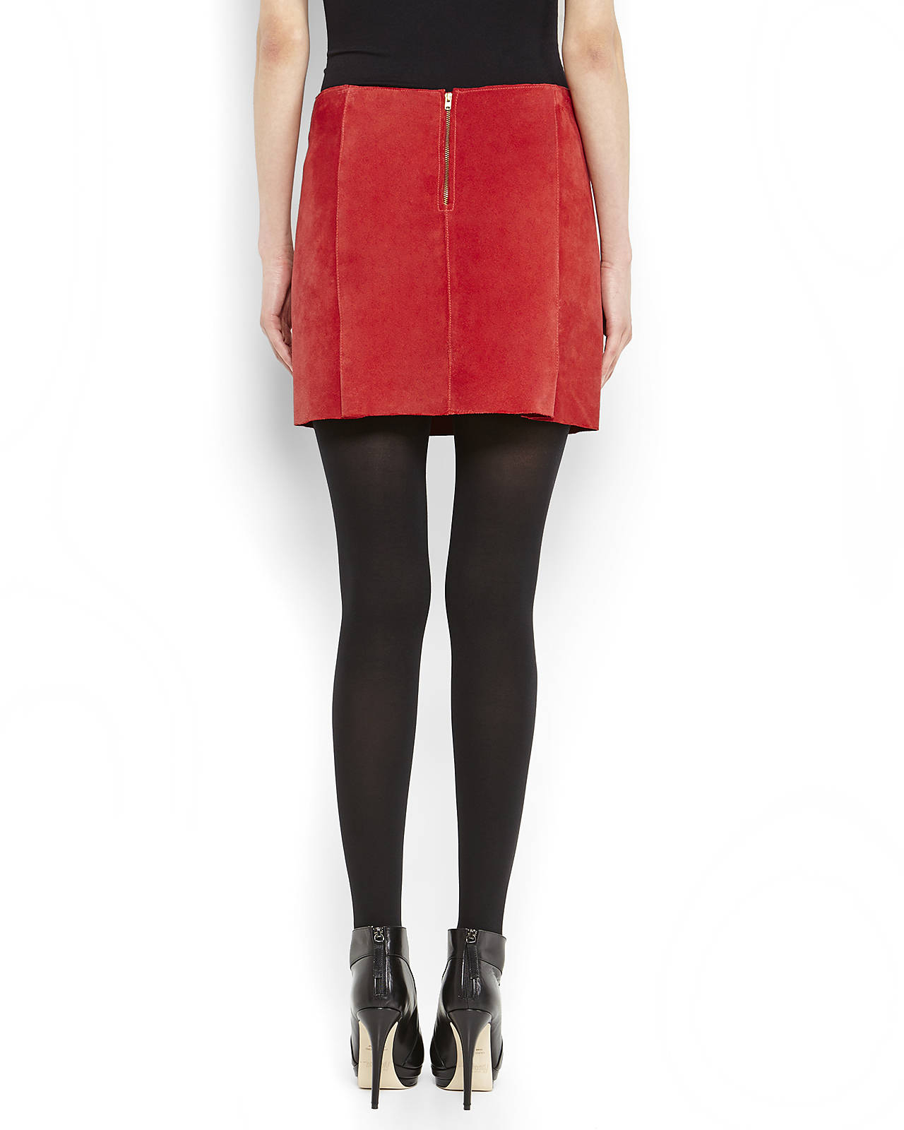 Maje Suede Mini Skirt in Red | Lyst