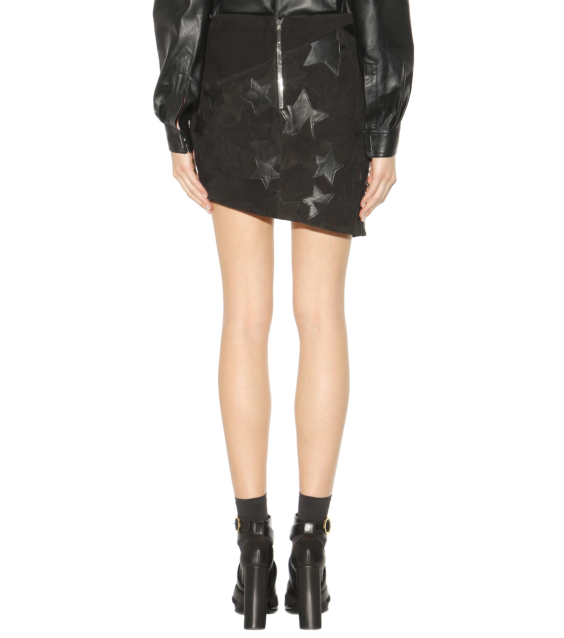 anthony vaccarello embellished suede and leather skirt in