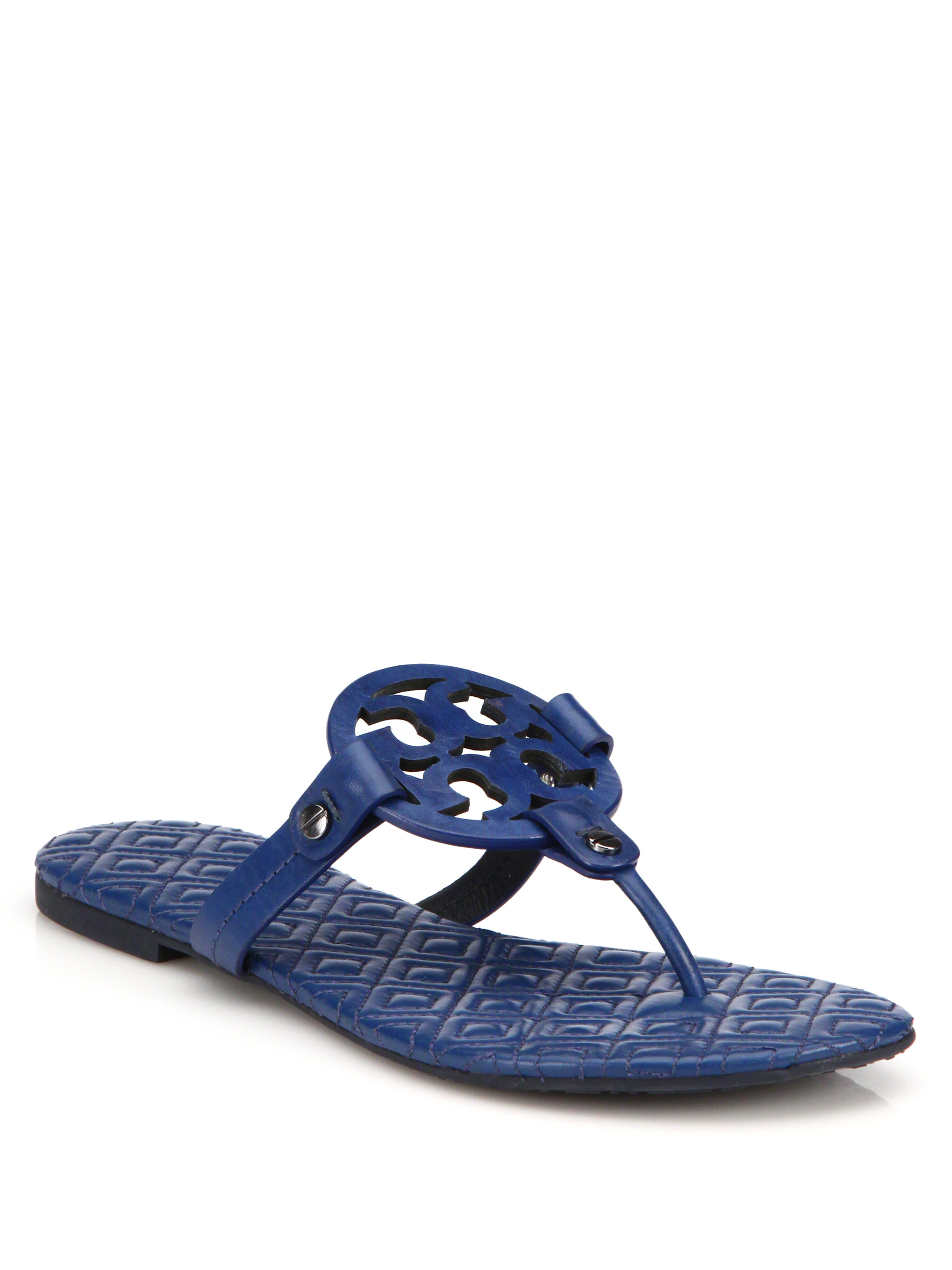 Tory Burch Miller Quilted Leather Logo Thong Sandals In
