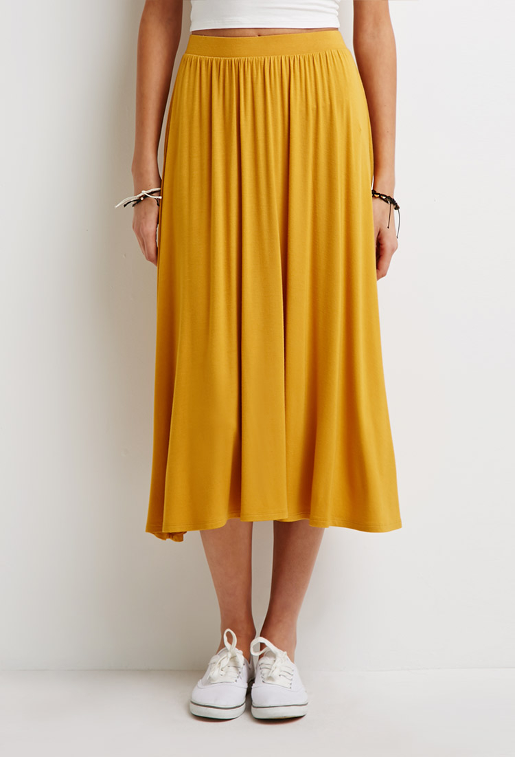 Forever 21 Stretch-Knit A-Line Skirt in Yellow | Lyst