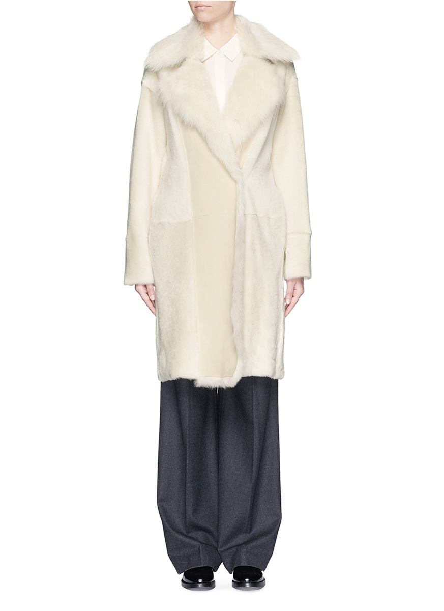 Theory &39jathan&39 Shearling Coat in White | Lyst