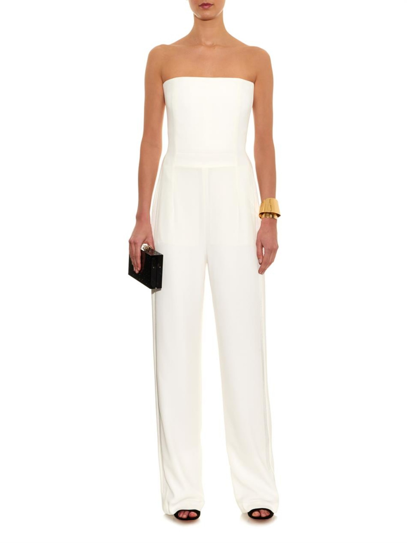Galvan london Strapless Crepe Jumpsuit in White | Lyst