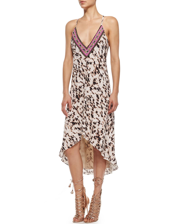 haute hippie embellished leopard print high low dress in