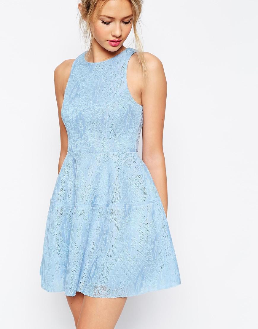 Asos Bonded Lace High Neck Lantern Mini Dress in Blue | Lyst
