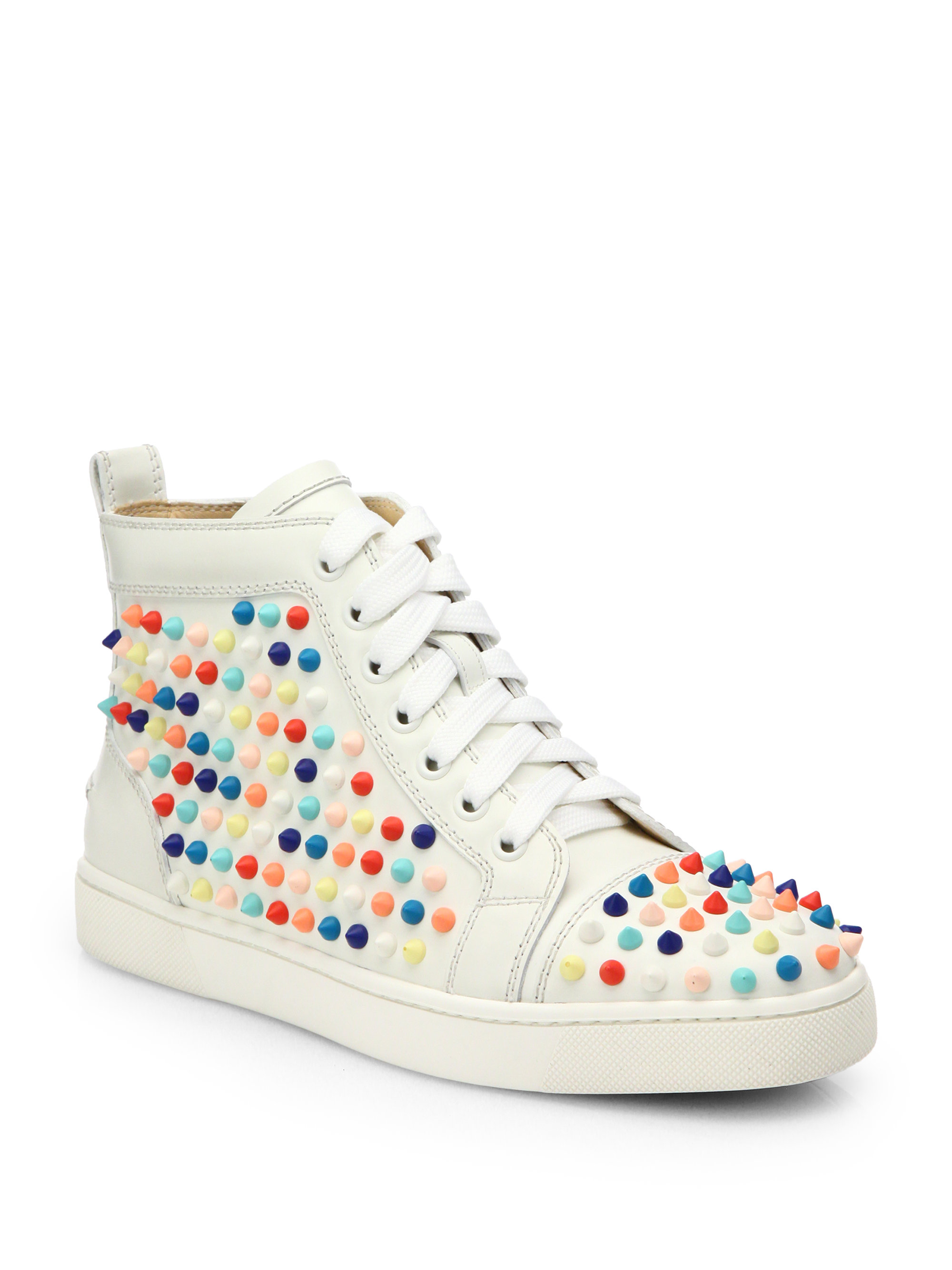 16f1ea59ea1 Christian Louboutin White Louis Woman Studded Leather Wedge Sneakers