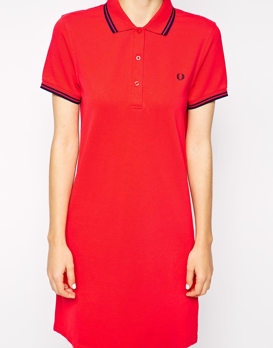 Fred perry Polo Shirt Dress in Pink | Lyst
