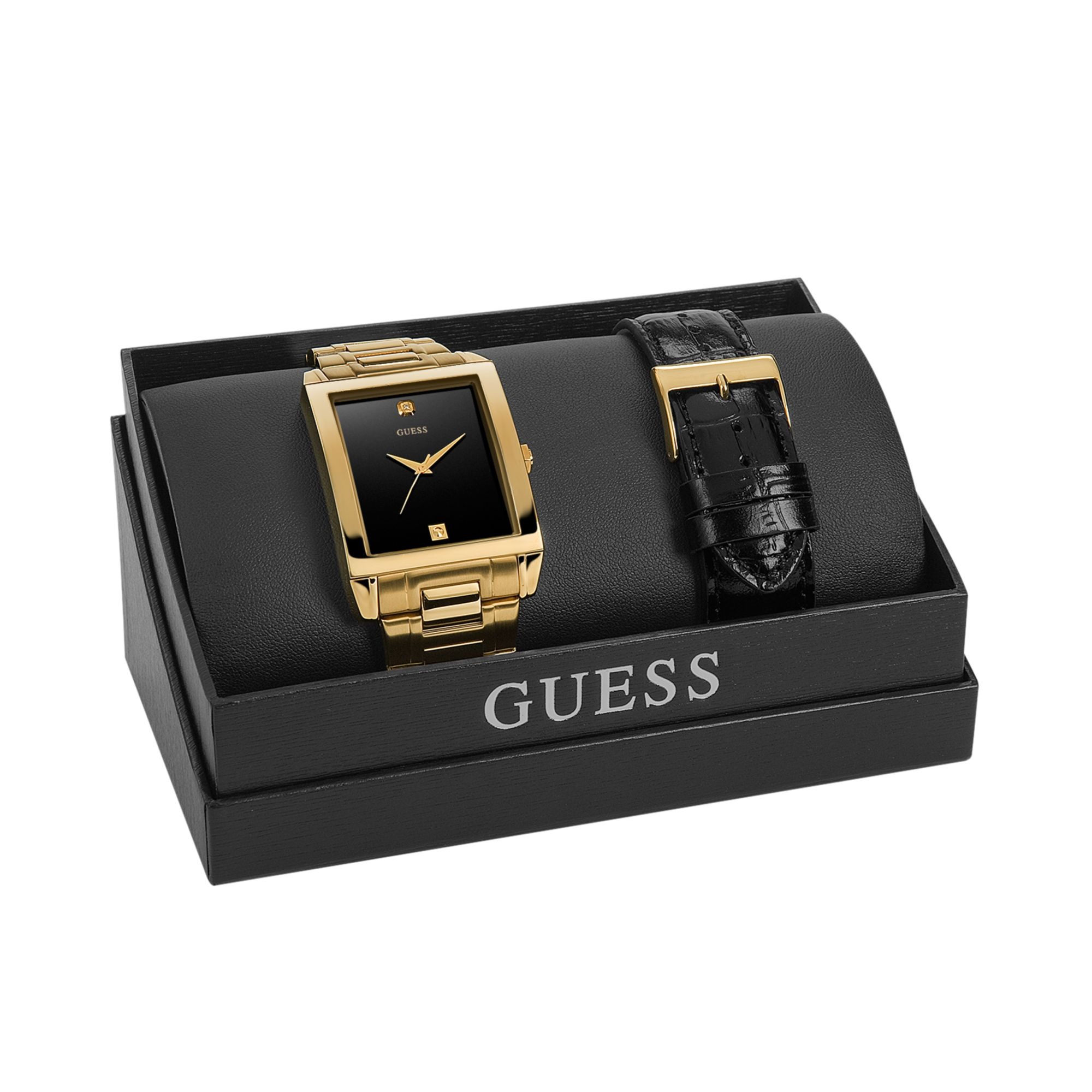 guess watch set mens diamond accent gold tone stainless steel gallery
