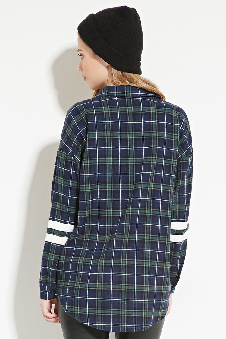 forever 21 varsity striped flannel shirt in blue lyst