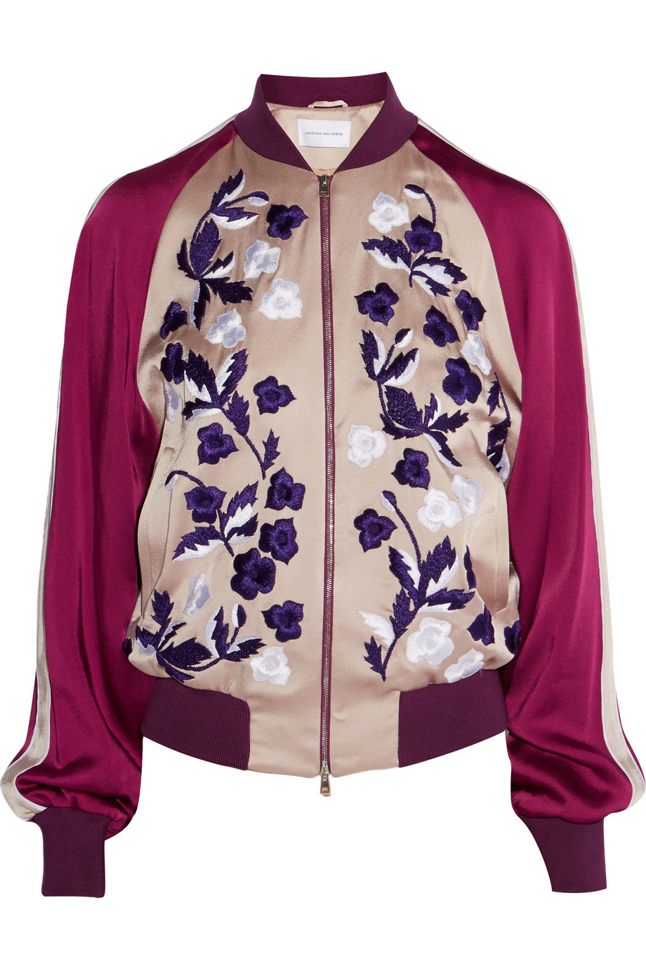 4d7251be1 Jonathan Saunders Cecily Floral-Embroidered Satin Bomber Jacket in ...
