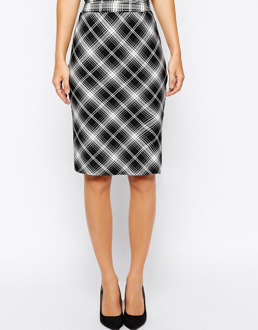 oasis check pencil skirt in black lyst