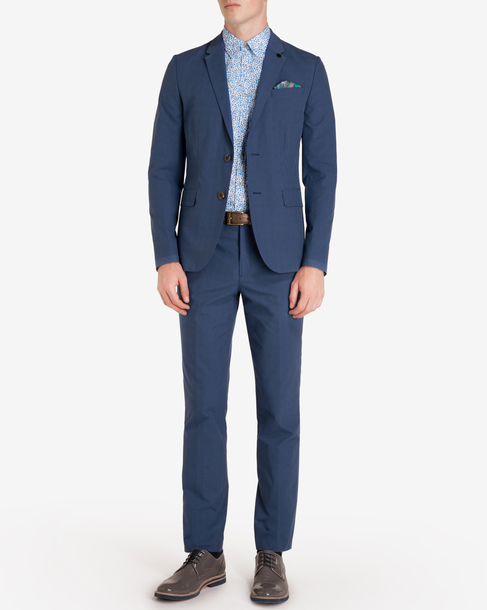 Ted Baker Prince Of Wales Check Trousers in Dark Blue (Blue) for Men