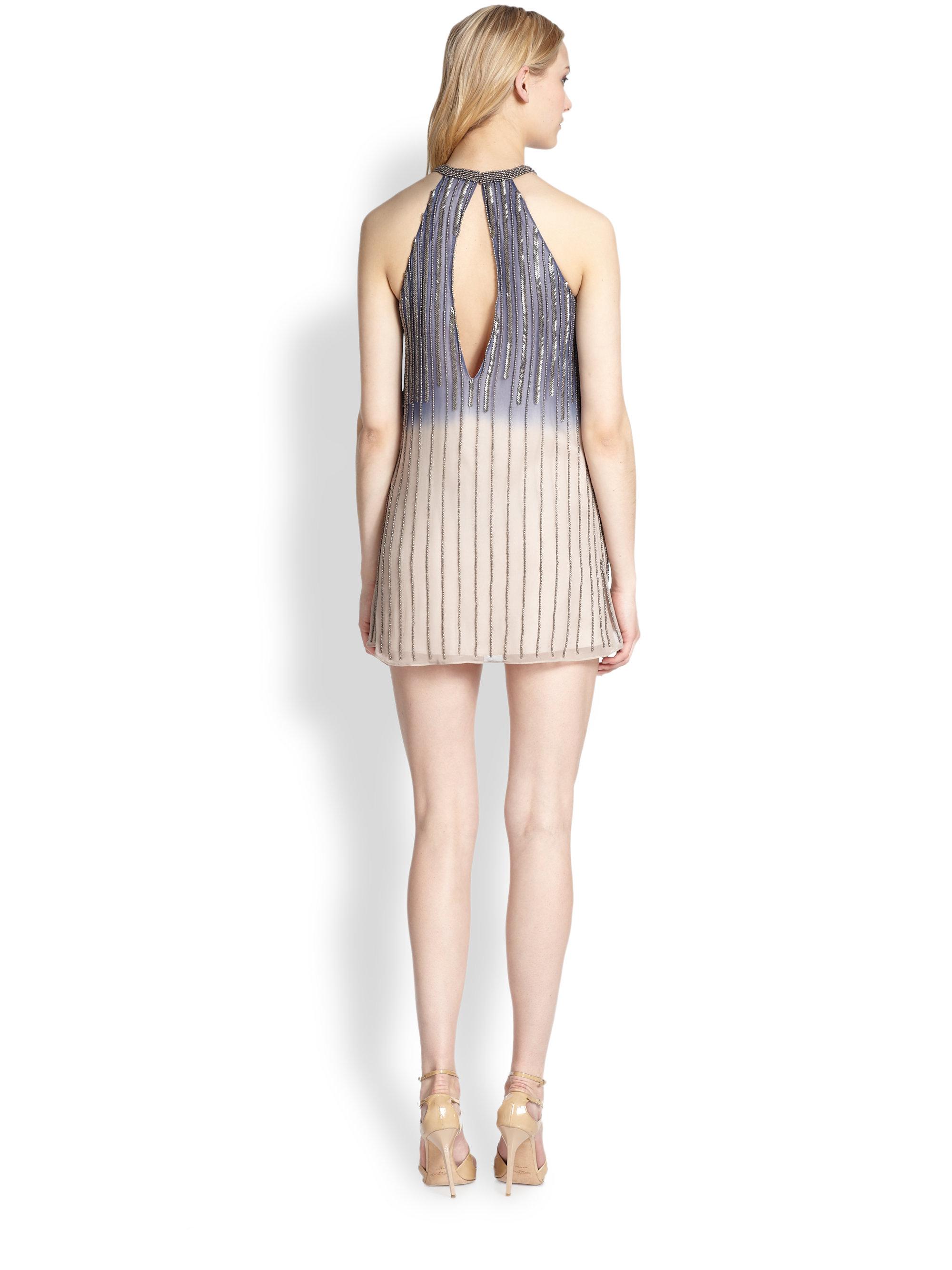 sansa beaded halter ombre dress in gray bayou lyst