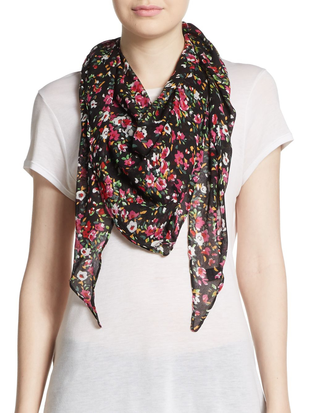 saks fifth avenue floral print scarf in pink lyst