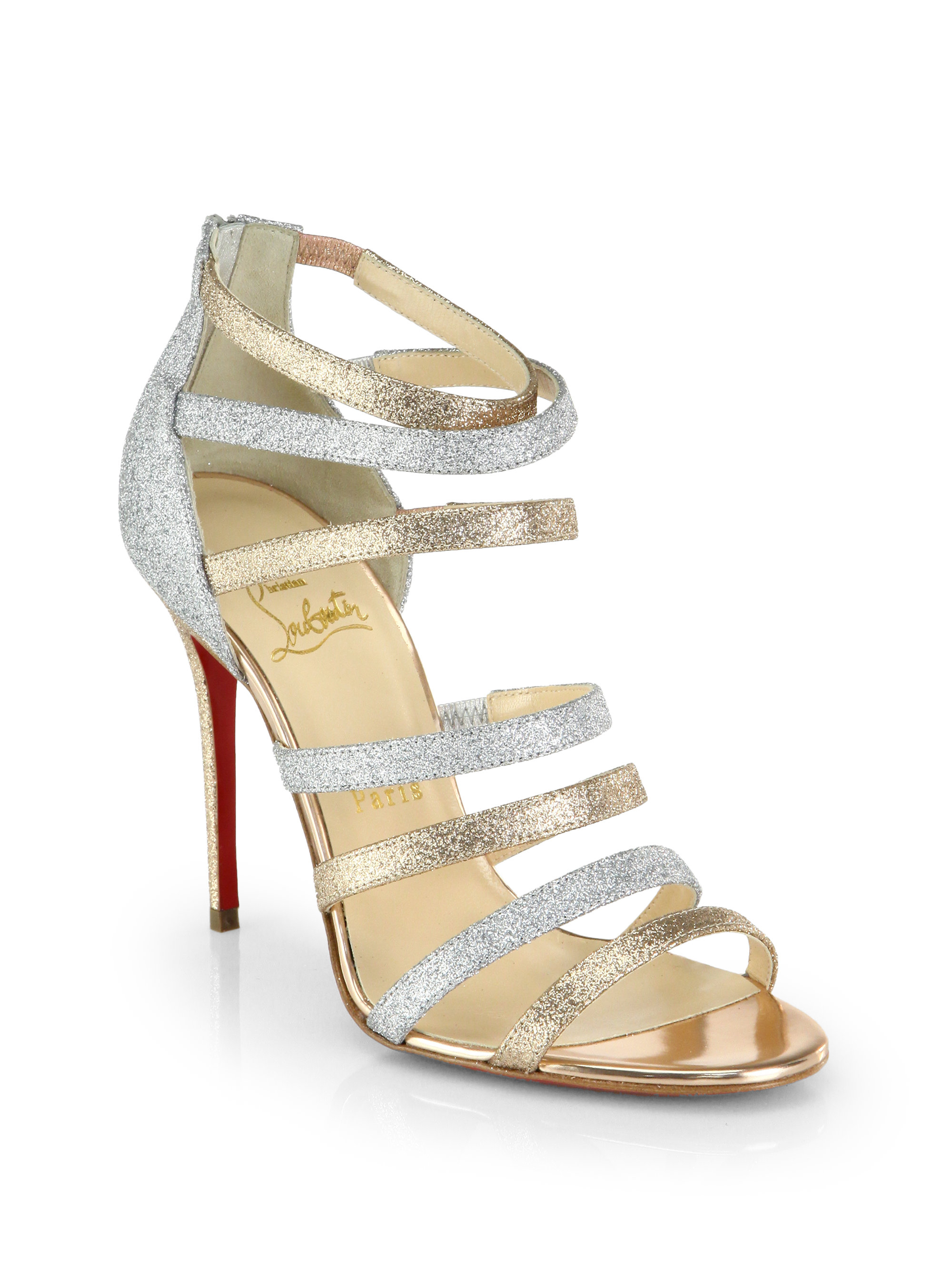 Christian Louboutin Marniere Strappy Glitter Sandals In