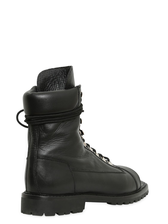 Balmain Open Toe Leather Combat Boots In Black Lyst