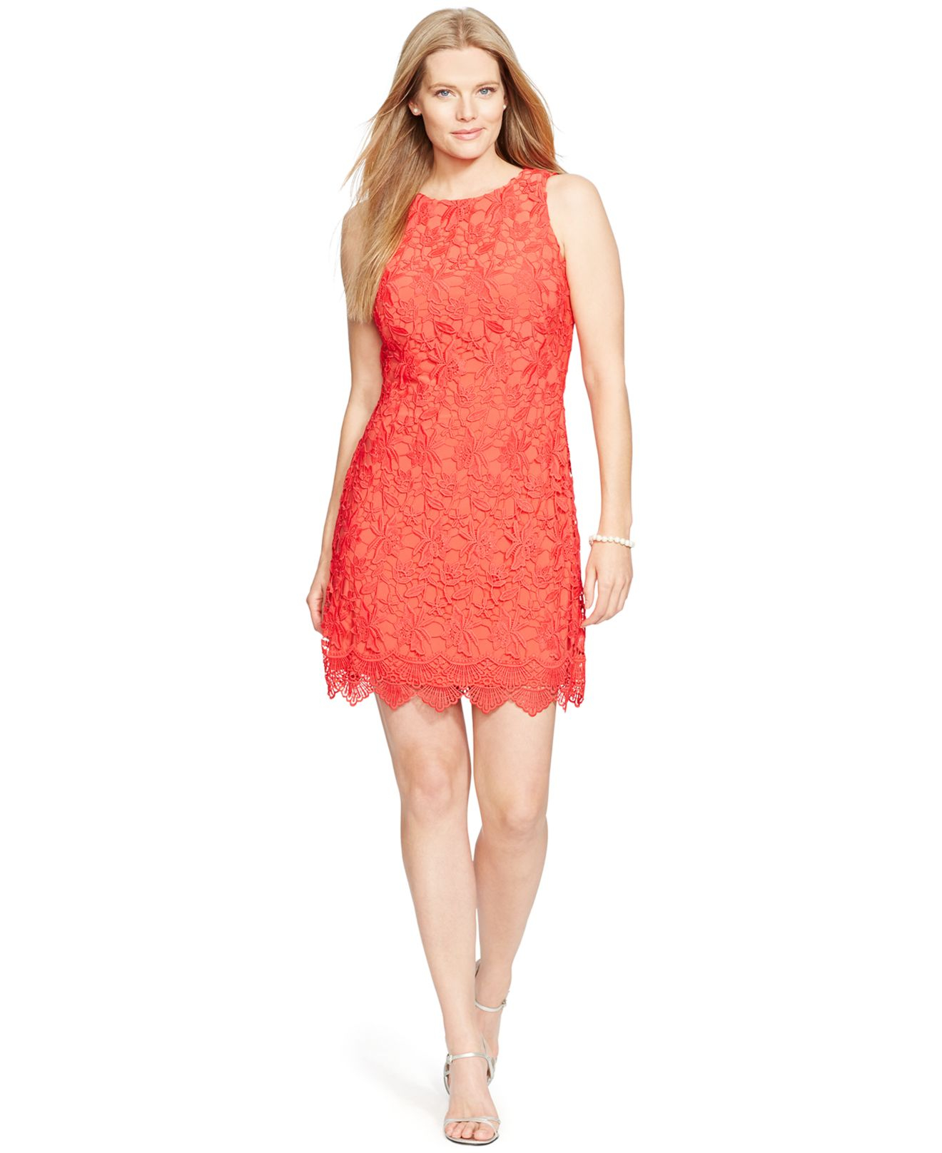 2c78be9c9d73 Lauren by Ralph Lauren Plus Size Sleeveless Lace Dress in Red - Lyst