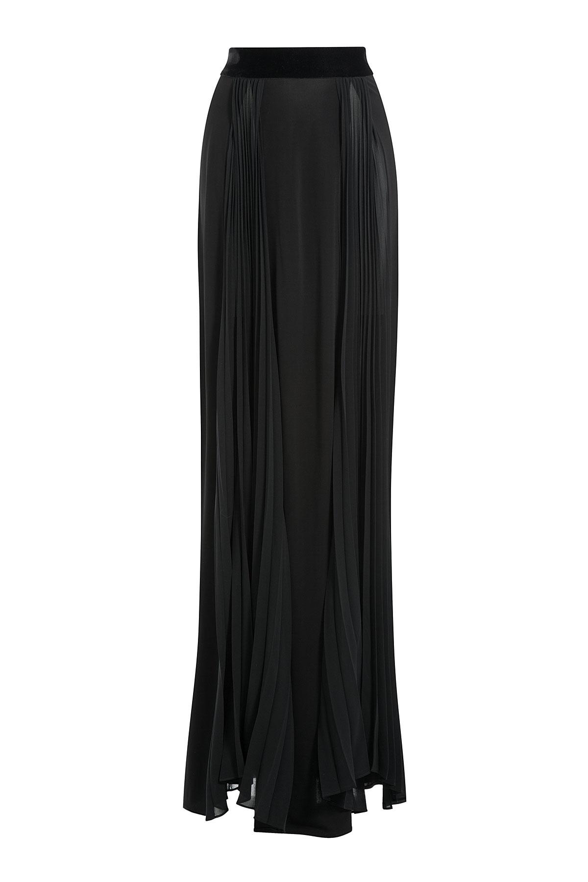 just cavalli maxi skirt with velvet black in black lyst