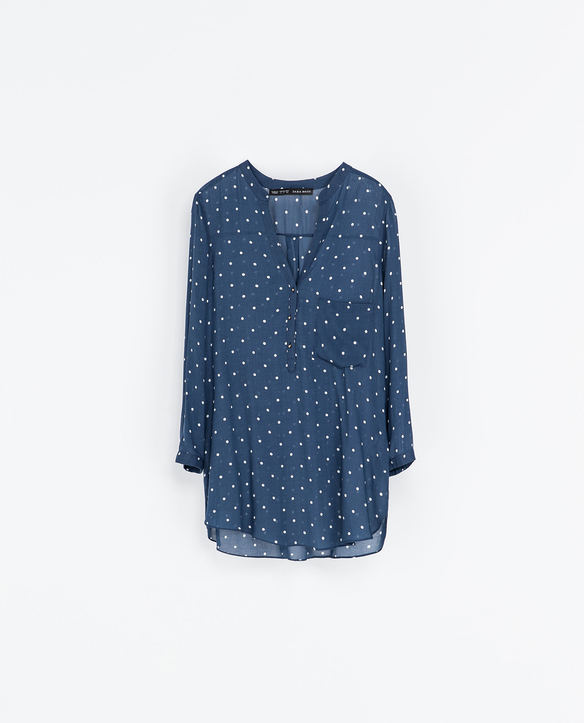 zara polka dot printed blouse in blue lyst. Black Bedroom Furniture Sets. Home Design Ideas