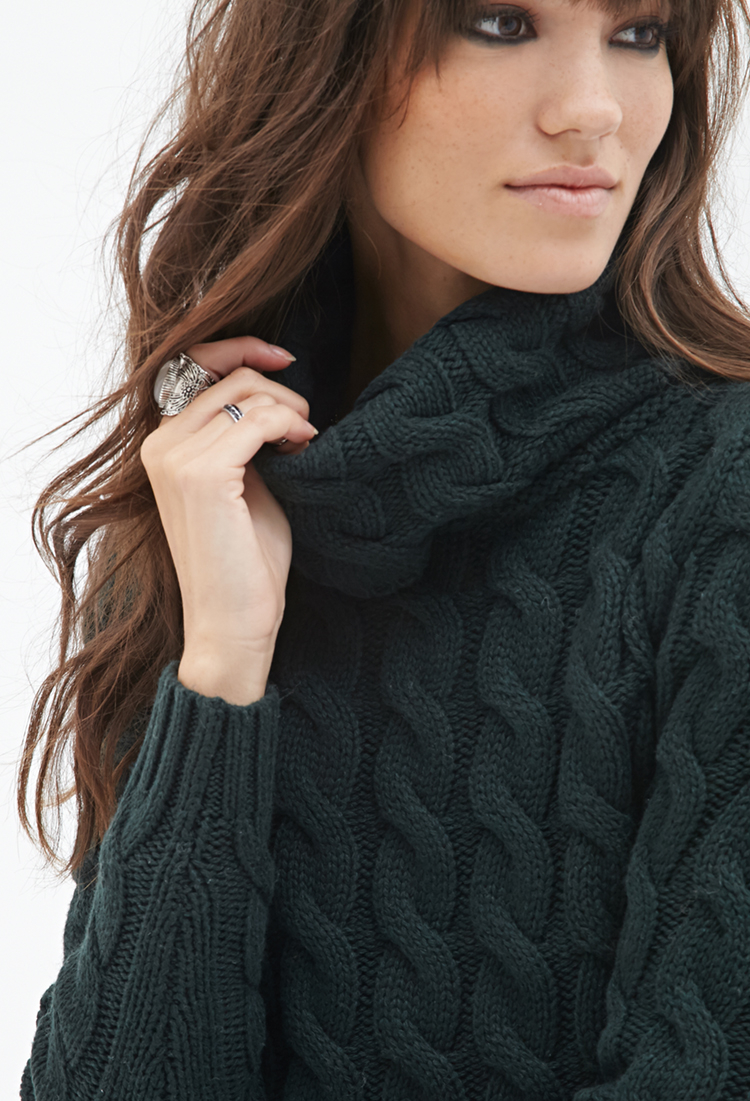 Forever 21 Cable Knit Turtleneck Sweater in Green | Lyst