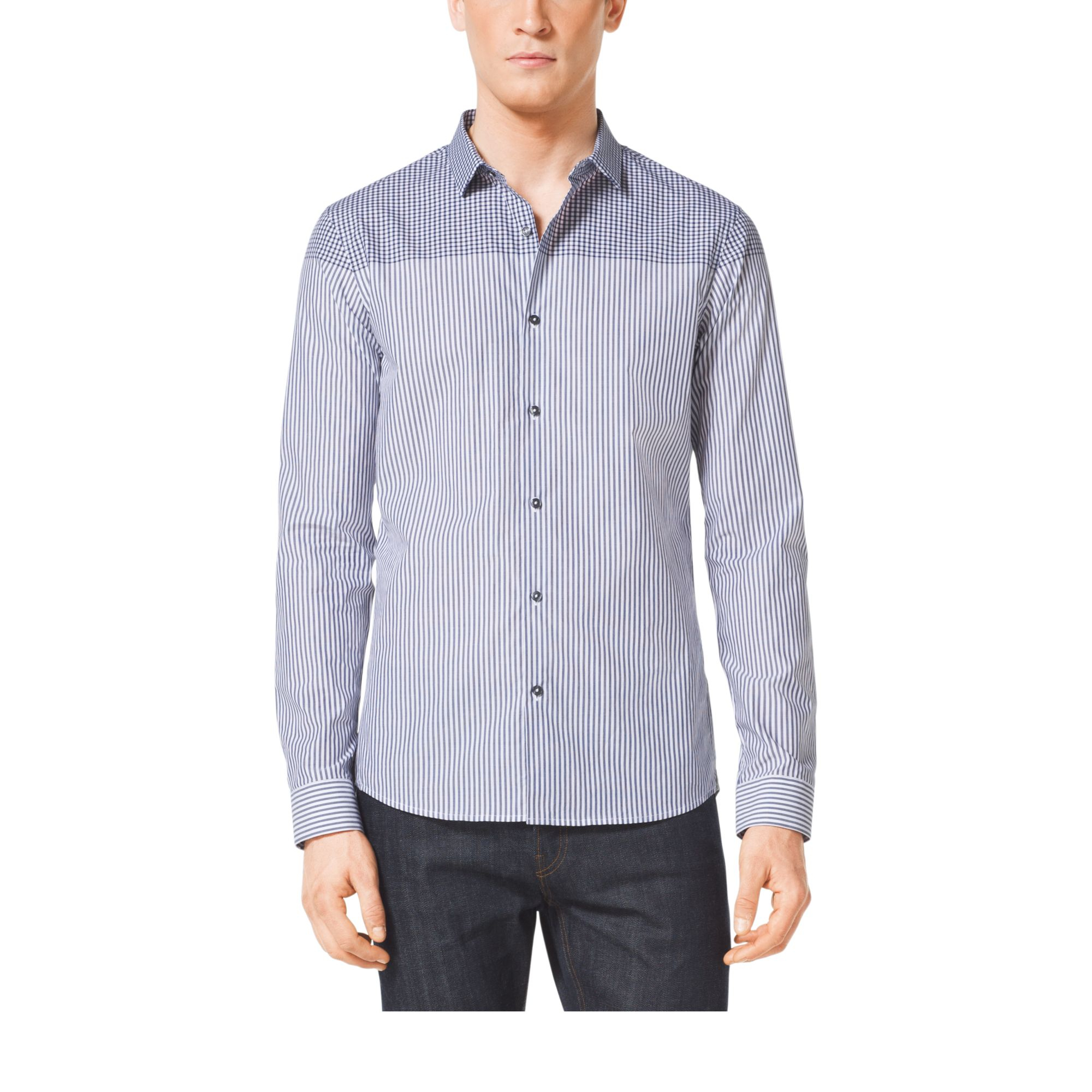Michael kors slim fit check cotton shirt in blue for men for Slim fit cotton shirts