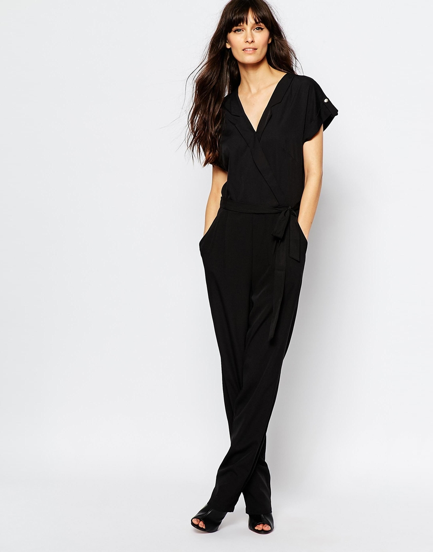 vero moda wrap front utility jumpsuit in black lyst. Black Bedroom Furniture Sets. Home Design Ideas