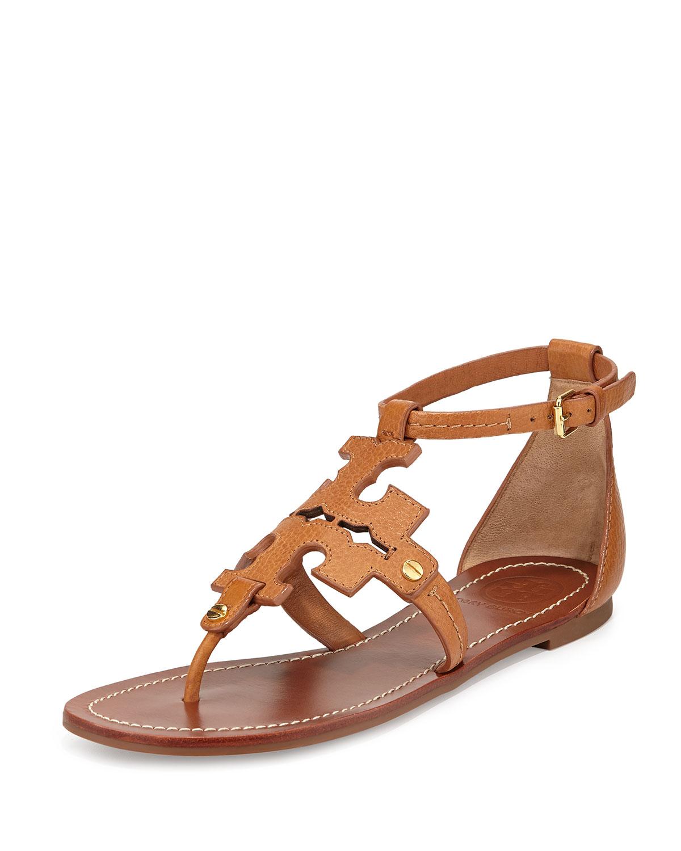 Gallery - Tory Burch Phoebe Logo Flat Thong Sandal Tan In Brown Lyst