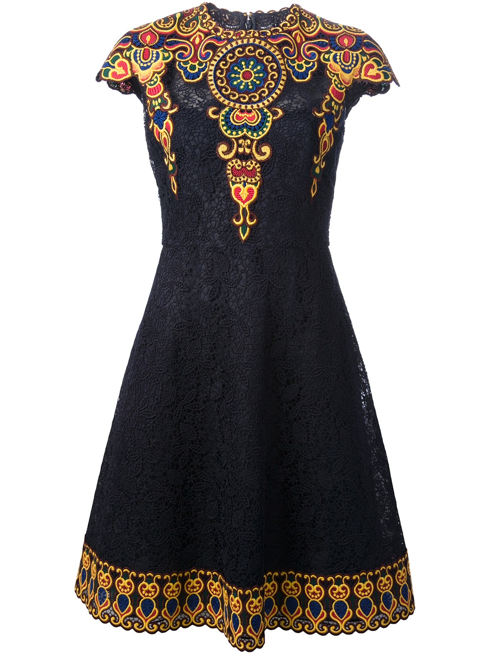 Valentino embroidered floral lace aline dress in blue lyst