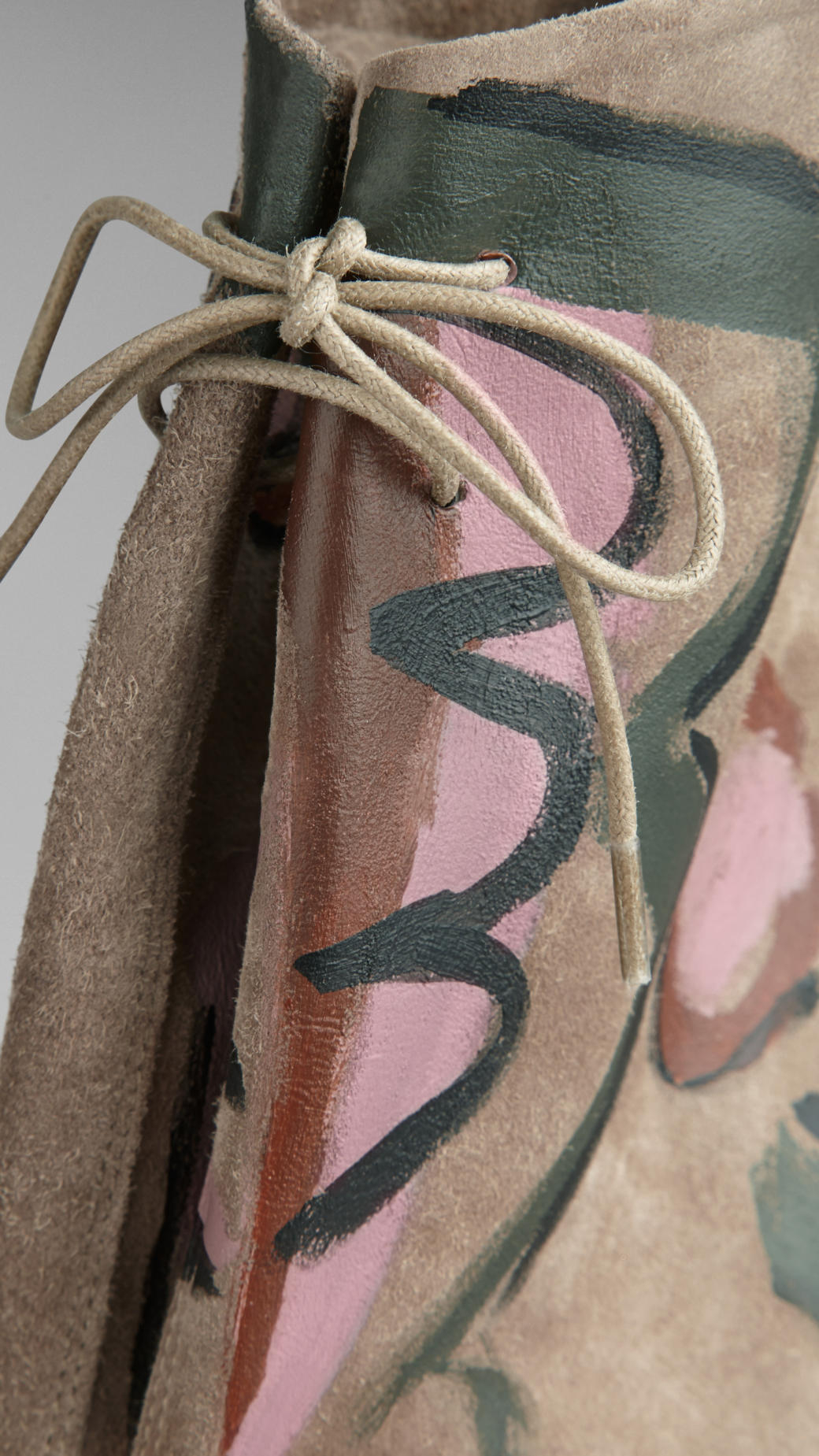 Burberry Hand-Painted Suede Ankle Boots in Light Grey Melange (Grey)