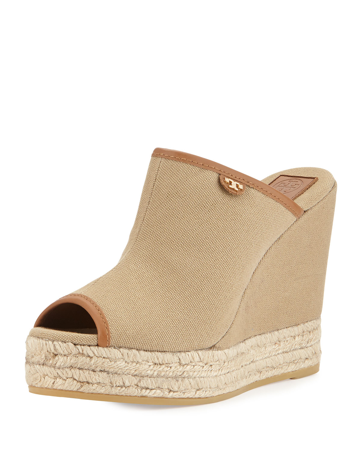 Tory Burch Canvas Slip On Wedge Mule In Natural Lyst
