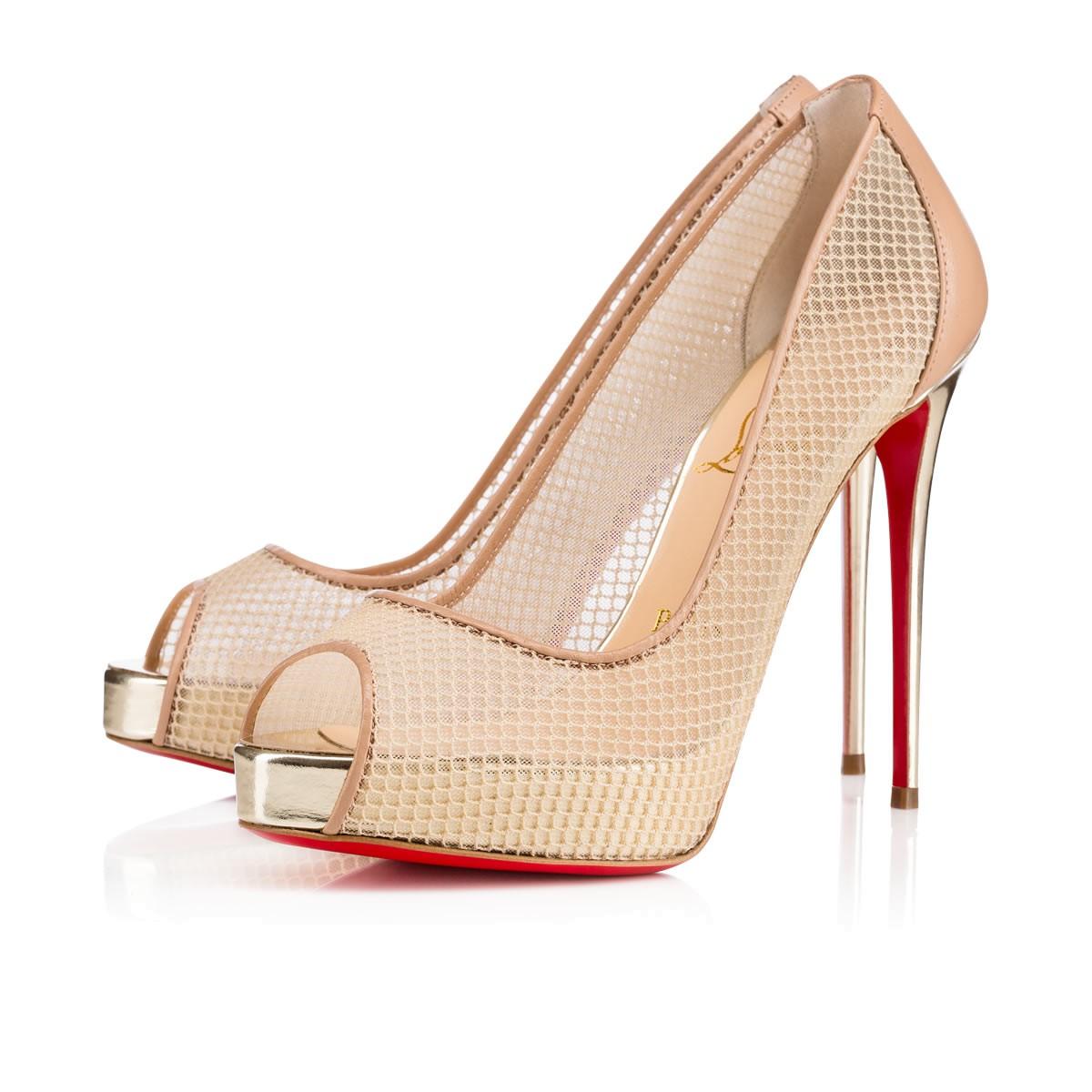 Christian Louboutin Very Rete Mesh Peep Toe Pumps Cl Shoes