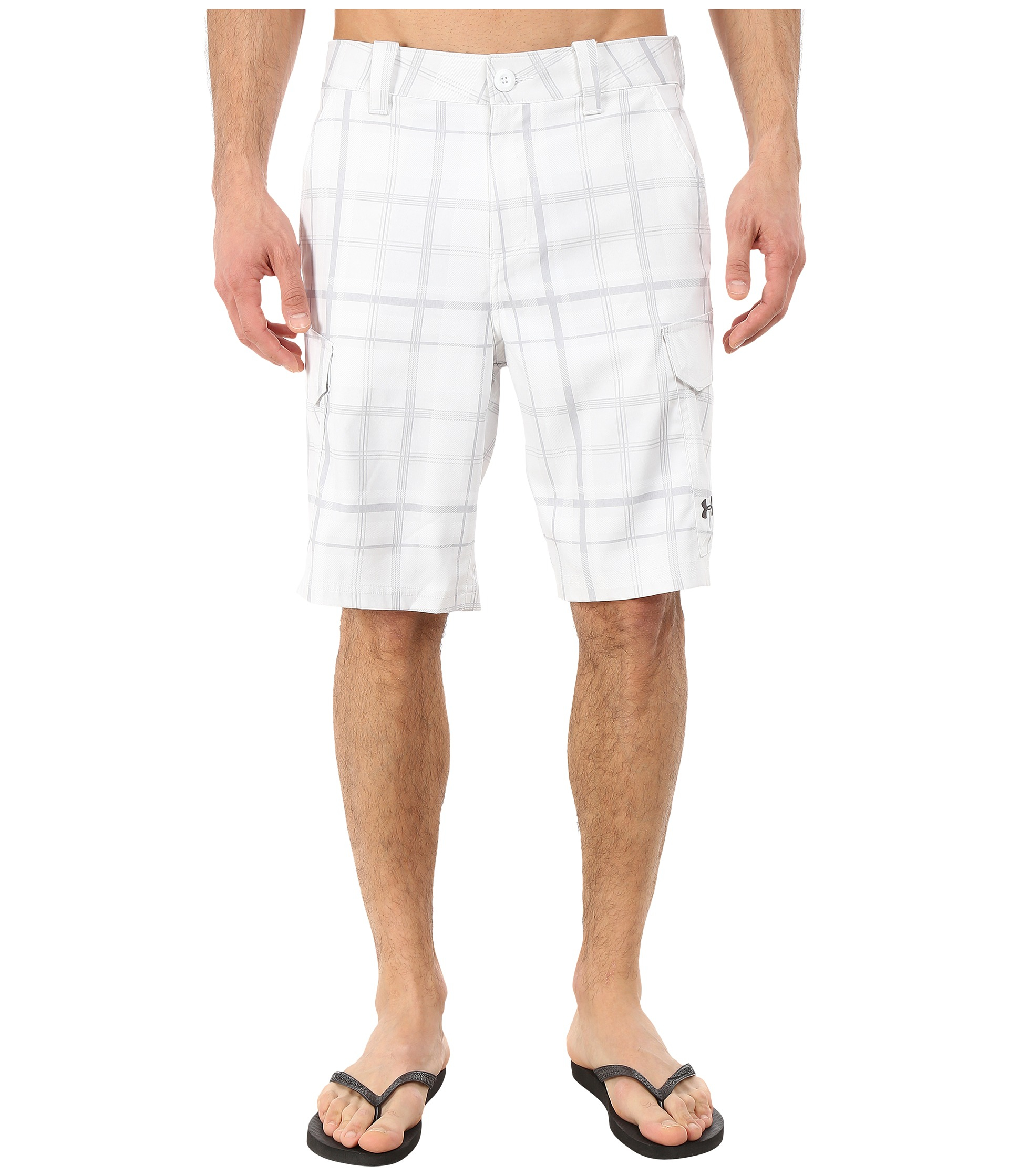 Under armour ua fish hunter cargo short in white for men for Under armour fishing shorts