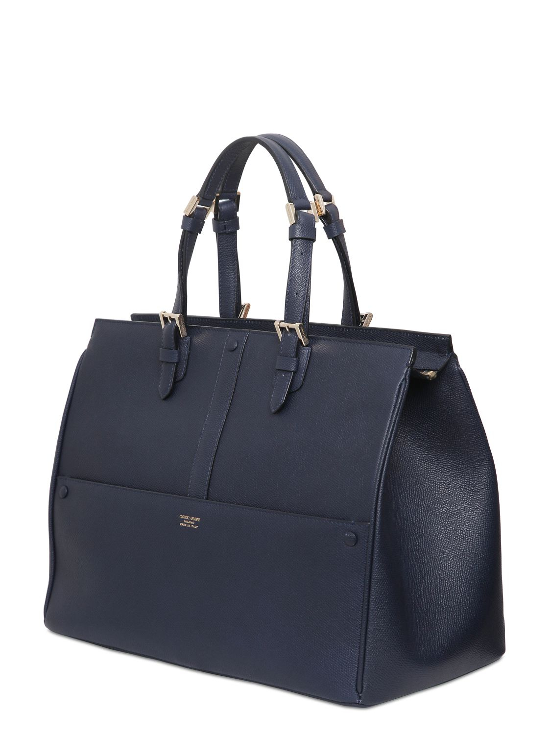17d087105f39 Lyst - Giorgio Armani Weekend Saffiano Leather Top Handle Bag in Blue