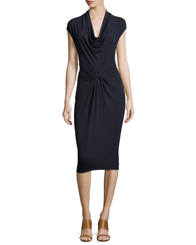 Cowl Neck Sheath Dresses: Michael Kors Cap-sleeve Cowl-neck Sheath Dress In Blue