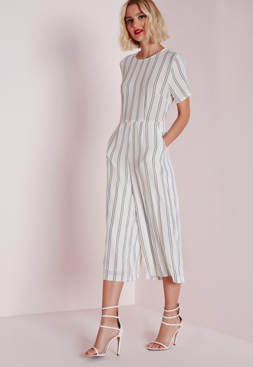 Missguided Stripe T-shirt Culotte Jumpsuit White in White   Lyst