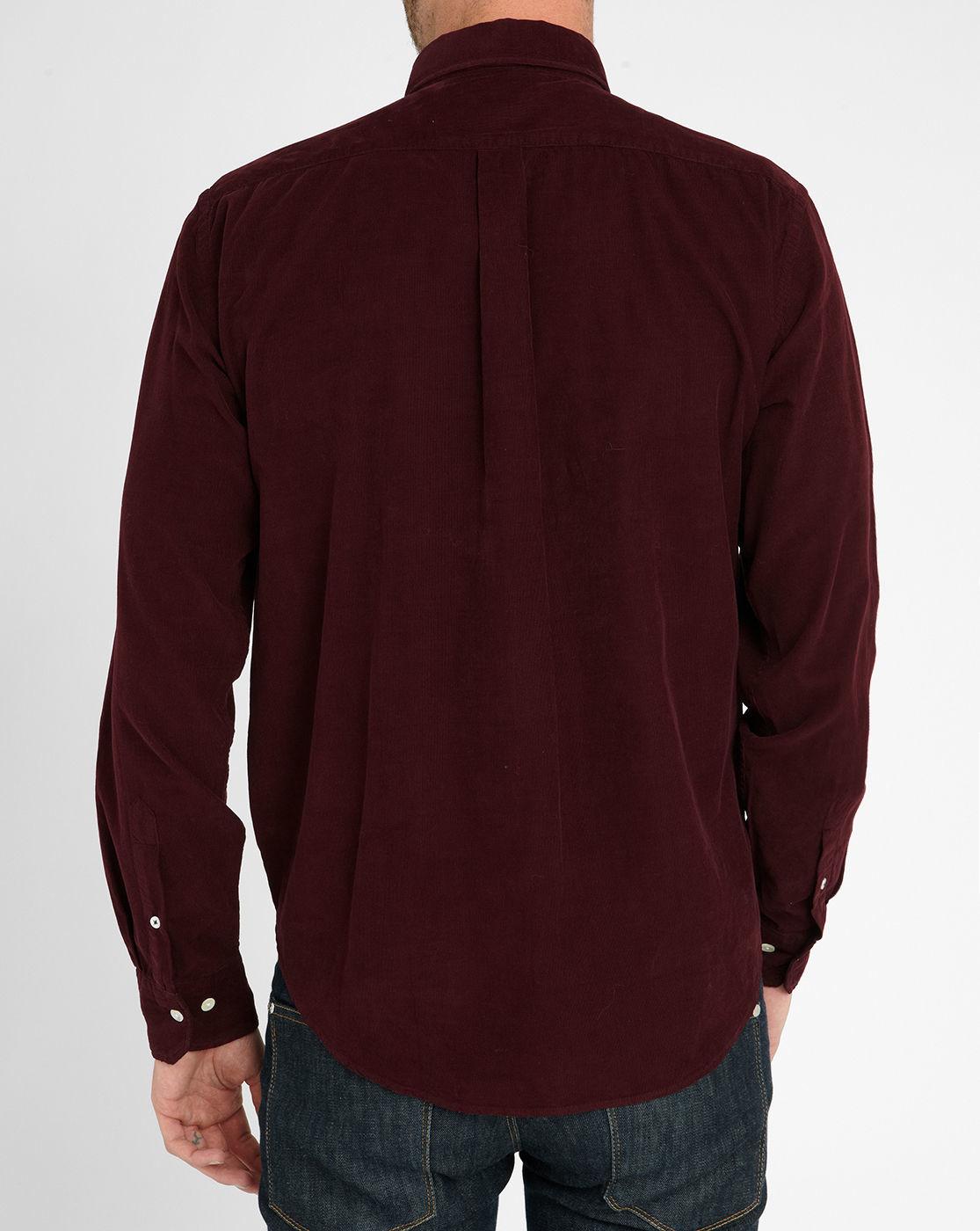 Hartford burgundy classic fit velvet shirt in red for men for Burgundy fitted dress shirts
