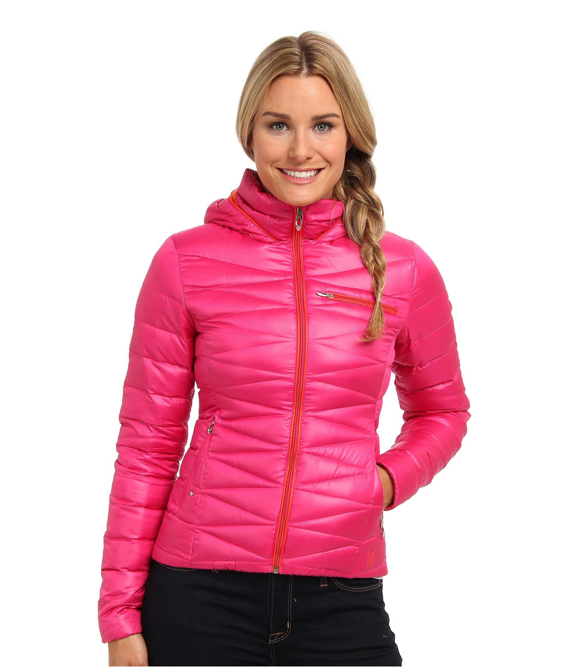 Spyder Timeless Hoodie Down Jacket in Pink | Lyst