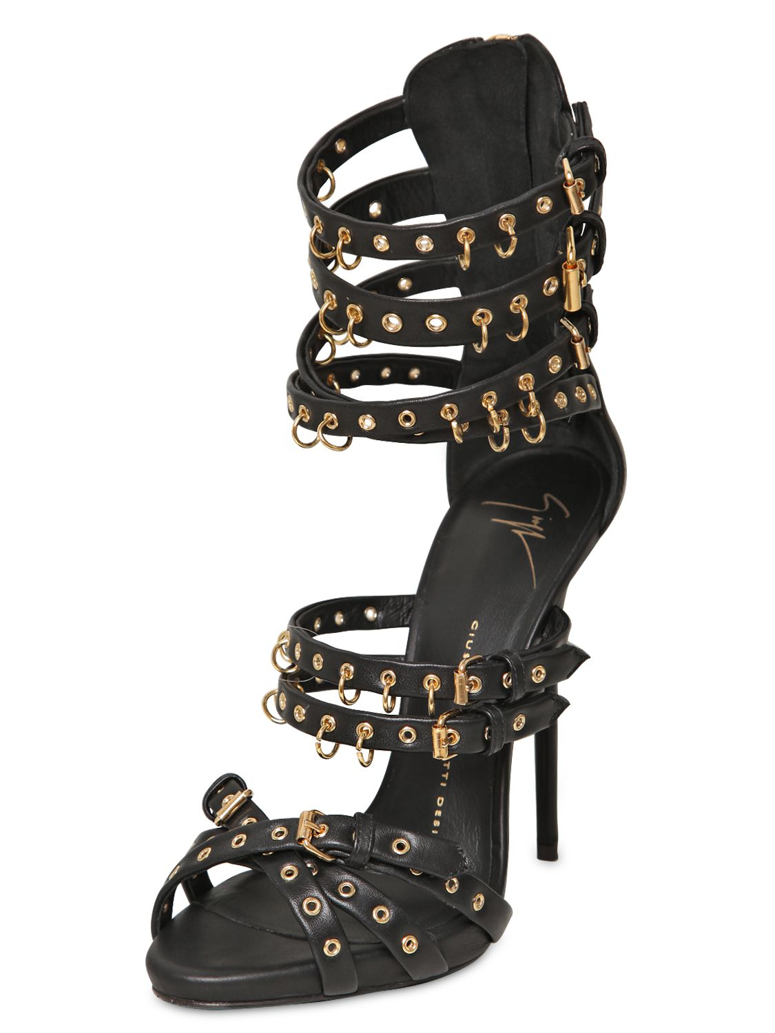 Lyst Giuseppe Zanotti 120mm Leather Piercing Cage