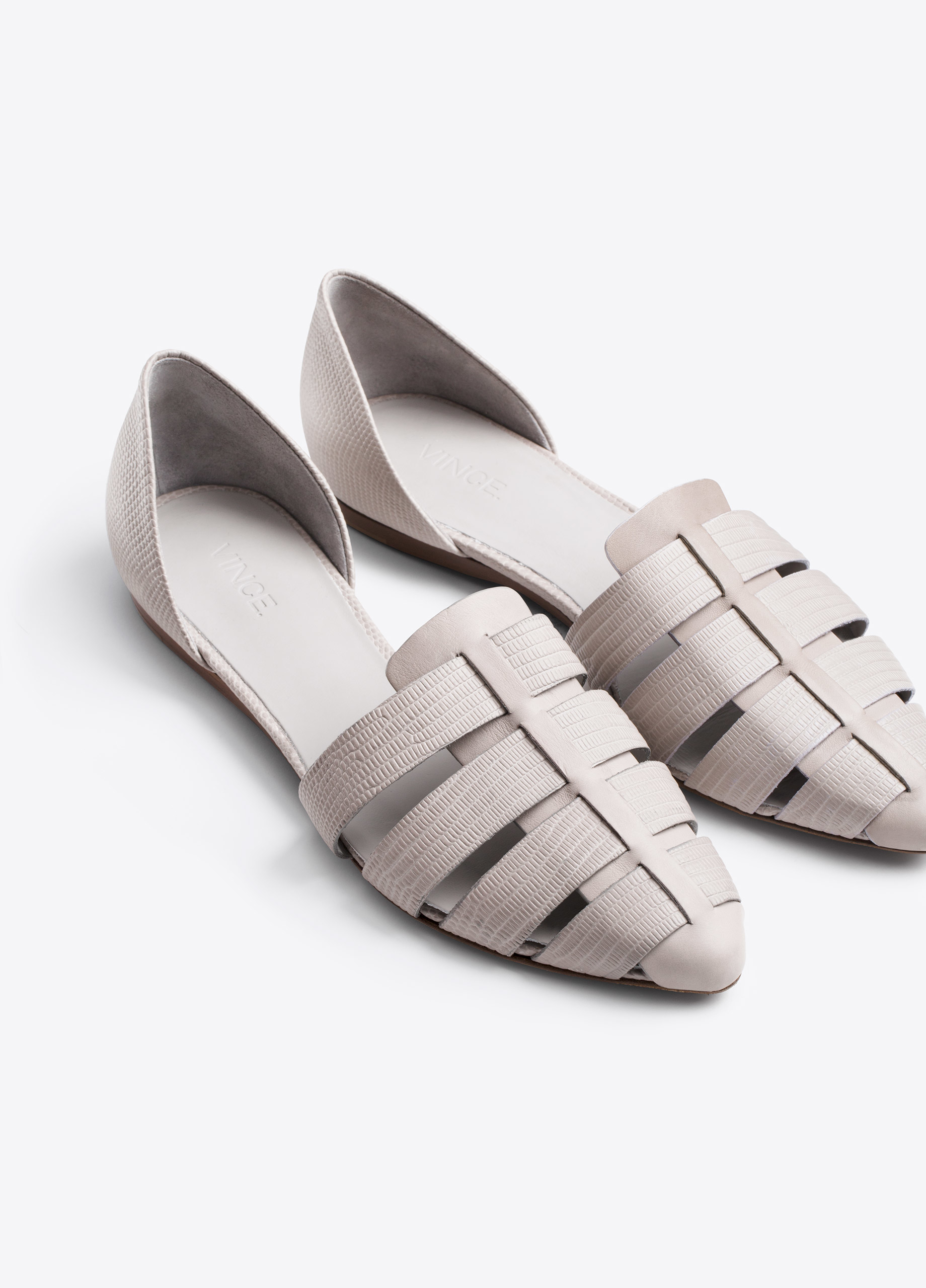 Lyst Vince Neves Leather Ballet Flats In Gray